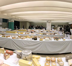 many tables of cheeses at the World Cheese Awards