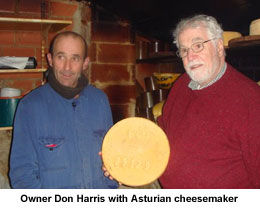 Don Harris with cheesemaker in Asturias