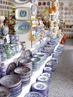 display of many types of painted ceramics