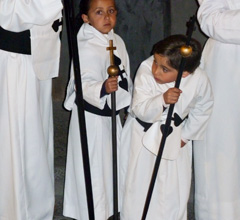 young Holy Week procession participants