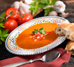 gazpacho soup in a ceramic bowl
