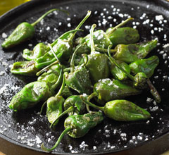 sauteed padron peppers sprinkled with sea salt