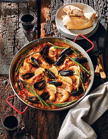 Seafood Paella in a Traditional Steel Paella Pan