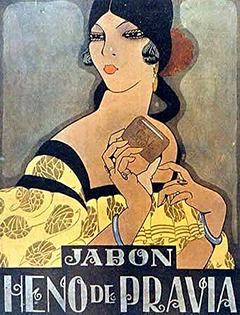 historical poster heno de pravia - lady with soap
