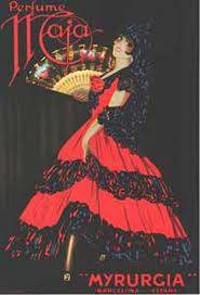 Maja poster  - lady with red dress and fan