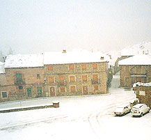 rural village covered in snow