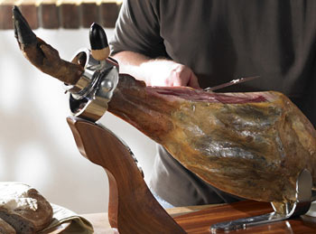 slicing a Jamon Iberico de Bellota