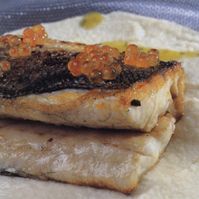 Fillets of Sea Bass with Cauliflower Puree and Salmon Roe