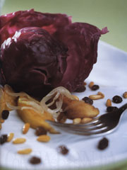Red Cabbage with Apples, Pine Nuts and Raisins
