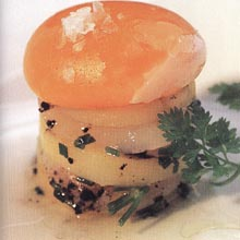 Millefeuille of Scallops, Potato Confit and Low-Temperature Egg Yolk