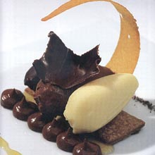 Textures of chocolate, corn and lemon