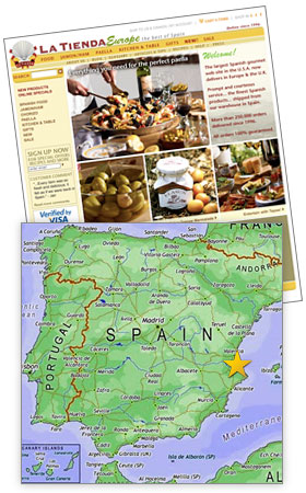 La Tienda Europe web site and location of La Tienda warehouse in Spain